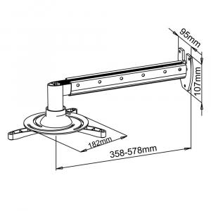 UCHWYT ścienny 36-58cm DO PROJEKTORA 15kg P-103 uniwersalny pełna regulacja