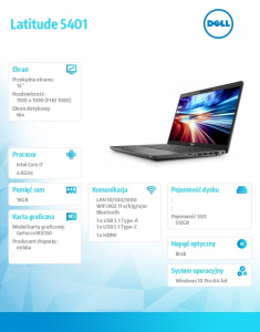 Latitude 5401 Win10Pro i7-9850H/512GB/16GB/MX150/14.0 FHD/KB-Backlit/4-cell/3Y BWOS