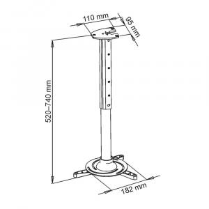 UCHWYT sufitowy 40-62cm DO PROJEKTORA 15kg P-102 uniwersalny pełna regulacja