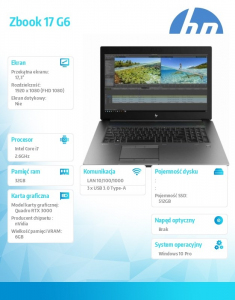 Laptop ZBook 17 G6 i7-9850H 512/32/W10P/17,3 6TV06EA