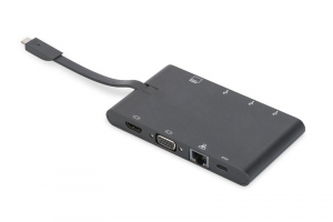 Stacja dokująca podróżna USB Typ C, 9 portów, funkcja Dual Monitor, 4K 30Hz, czarna