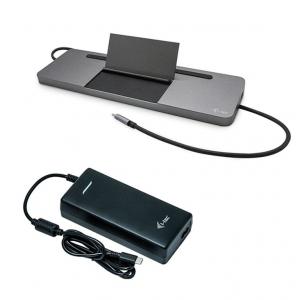 Zestaw Stacja dokująca USB-C Metal Ergonomic 4K 3x Display Power Delivery 85W + Zasilacz Uniwersalny 112 W