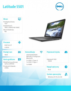 Latitude 5501 Win10Pro i7-9850H/512GB/16GB/MX150/15.6 FHD/KB-Backlit/4-cell/3Y BWOS