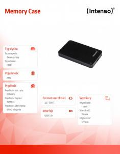 2TB 2.5'' HDD USB 3.0 zewnętrzny MEMORYCASE Czarny