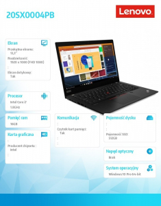 Ultrabook ThinkPad X13 Yoga G1 20SX0004PB W10Pro i7-10510U/16GB/512GB/INT/LTE/13.3 FHD/Touch/3YRS CI
