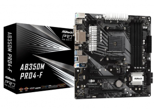 Płyta główna AB350M Pro4-F AM4 4DDR4 DVI/HDMI/VGA M.2 mATX