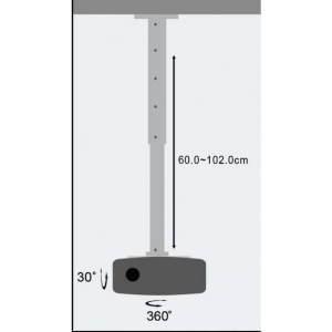 Ramię sufitowe do projektora 60-120cm 15kg srebrny