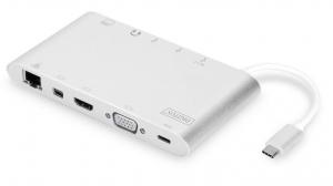 Stacja dokująca USB Typ C, 11 dodatkowych portów, funkcja Dual Monitor, 4K 30Hz, aluminiowa, srebrna