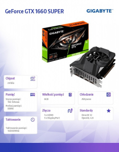 Karta graficzna GeForce GTX 1660 SUPER OC IX 192BIT 6GB GDDR6 3DP/HDMI