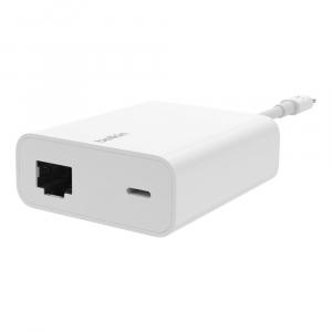 Adapter przejsciówka Lightning do Ethernet/Lightning 13cm biały oem