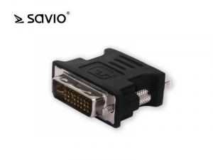 Adapter DVI-I (M) do VGA 15 pin (F) Savio CL-25 wielopak 10 szt.