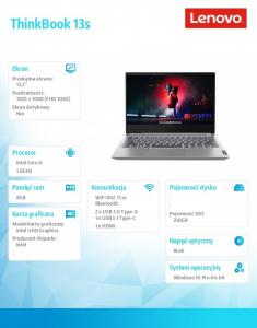 Laptop ThinkBook 13s 20RR0007PB W10Pro i5-10210U/8GB/256GB/INT/13.3 FHD/Mineral Grey/1YR CI