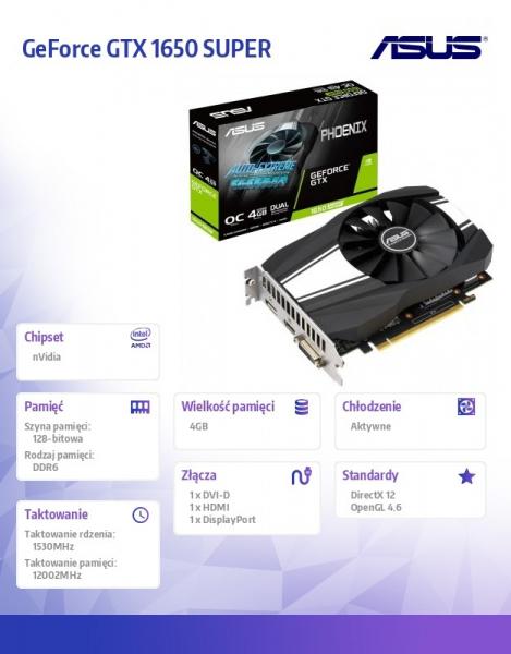 Karta graficzna GeForce GTX 1650 SUPER PH OC 4G 128bit GDDR6 HDMI/DP/DVI-D