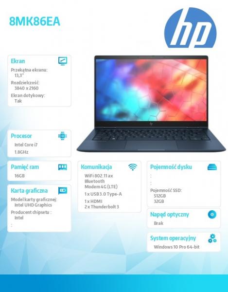 Notebook Elite Dragonfly W10P i7-8565U/512+32/16GB 8MK86EA
